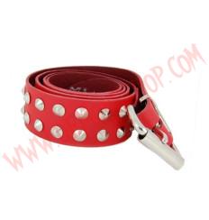 Cinturon de Cuero conos 2 filas Rojo
