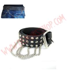 Cinturon de Cuero conos 3 filas con cadenas