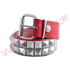 Cinturon de Cuero piramide 2 filas Rojo