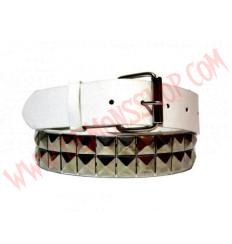 Cinturon de Cuero piramide 2 filas Blanco