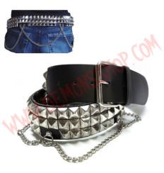 Cinturon de Cuero piramide 3 filas con cadenas