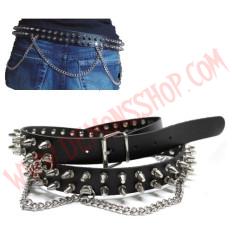 Cinturon de Cuero pinchos 2 filas con cadenas