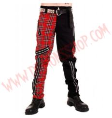 Pantalon Punk Rojo con Negro de Cremalleras
