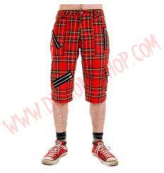 Pantalon Corto Punk Tartan Rojo Cremalleras