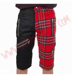 Pantalon Corto Punk Negro y Tartan Rojo Cremalleras