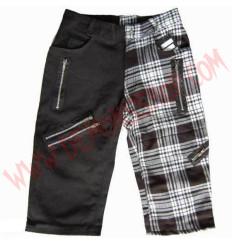 Pantalon Corto Punk Negro y Tartan Blanco Cremalleras