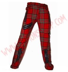 Pantalon Punk Zip Tartan Rojo