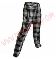Pantalon Punk Zip Tartan Blanco