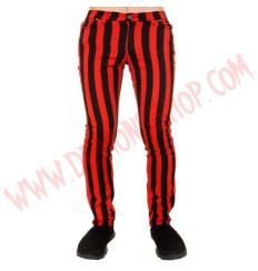 Pantalon Elastico Pitillo Raya Gruesa Rojo