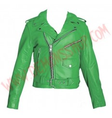 Chaqueta Clasica de Cuero Verde