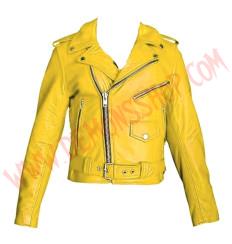 Chaqueta Clasica de Cuero Amarilla