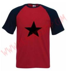 Camiseta MC Estrella Negra (Raglan Roja)