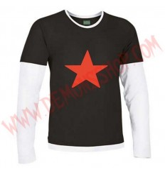 Camiseta ML Estrella Roja (Negra mangas blancas)