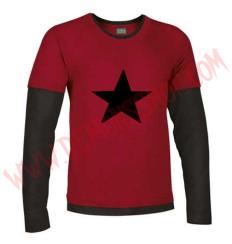 Camiseta ML Estrella Negra (Roja mangas negras)