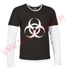 Camiseta ML Biohazard (Negra manga blanca)