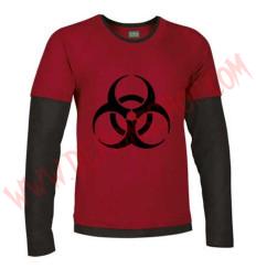 Camiseta ML Biohazard (Roja manga negra)