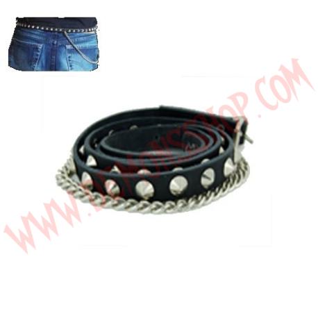 Cinturon de Cuero conos 1 fila con cadenas