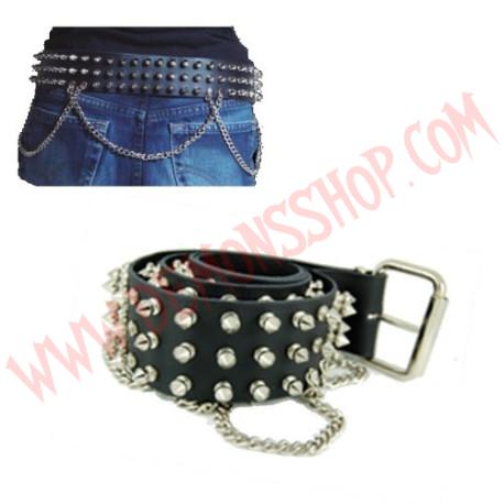 Cinturon de Cuero pinchos 3 filas con cadenas