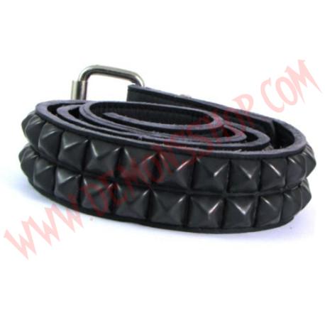 Cinturon de Cuero Piramide Negra 2 Filas