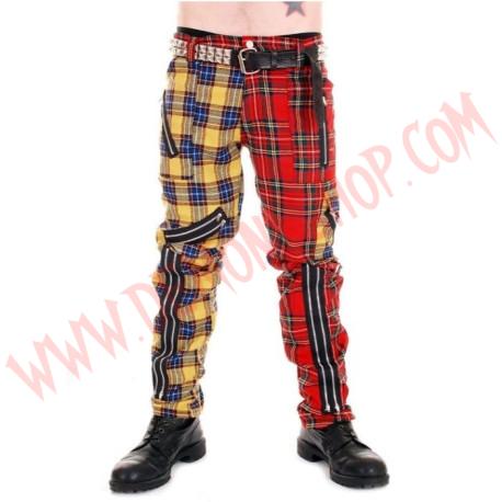 Pantalon Punk Rojo con Amarillo de Cremalleras