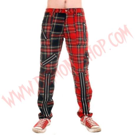 Pantalon Punk Rojo con Multi de Cremalleras