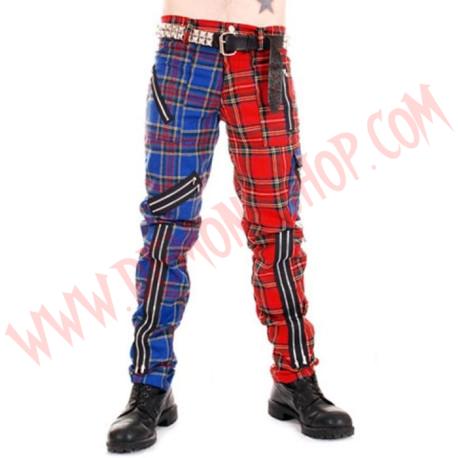 Pantalon Punk Rojo con Azul de Cremalleras