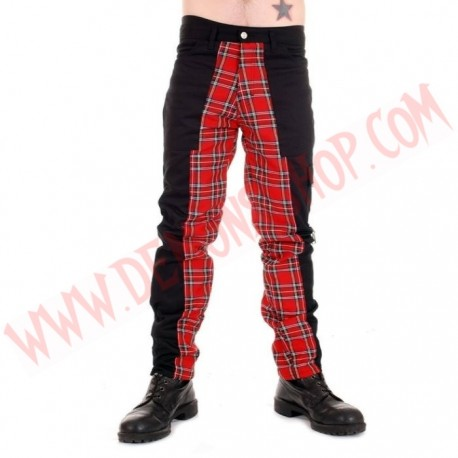 Pantalon Punk Negro con Rojo de Cremalleras