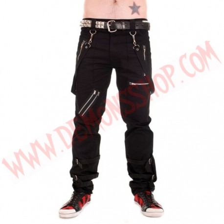 Pantalon Punk Bondage Negro Correas
