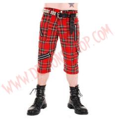 Pantalon Corto Punk 3/4 Tartan Rojo Cremalleras