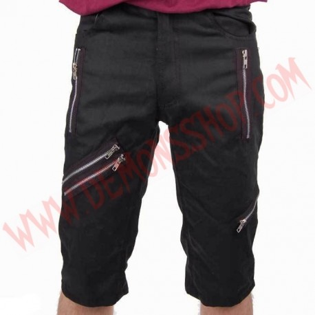 Pantalon Corto Punk Negro Cremalleras