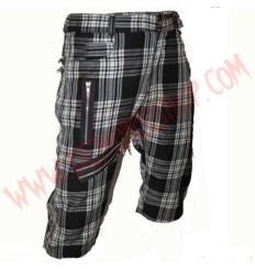 Pantalon Corto Punk Tartan Blanco Cremalleras