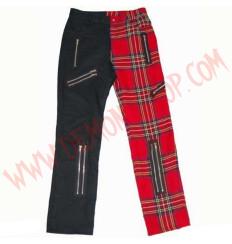 Pantalon Punk Zip Negro y Tartan Rojo