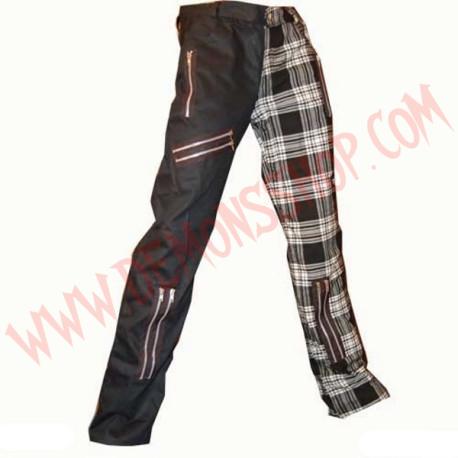 Pantalon Punk Zip Negro y Tartan Blanco