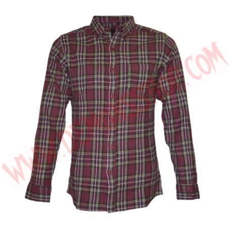 Camisa ML Brushed Flannel Cuadros Granate