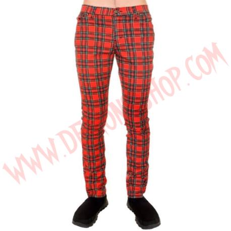 Pantalon Elastico Pitillo Tartan Rojo