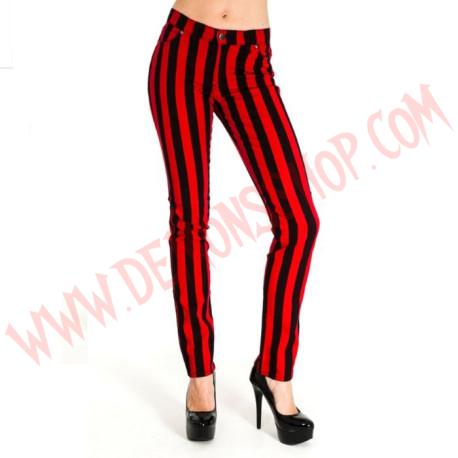 Pantalon Elastico Pitillo Rayas Gruesas Rojo