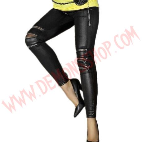 Leggings Zip-front Faux Leather
