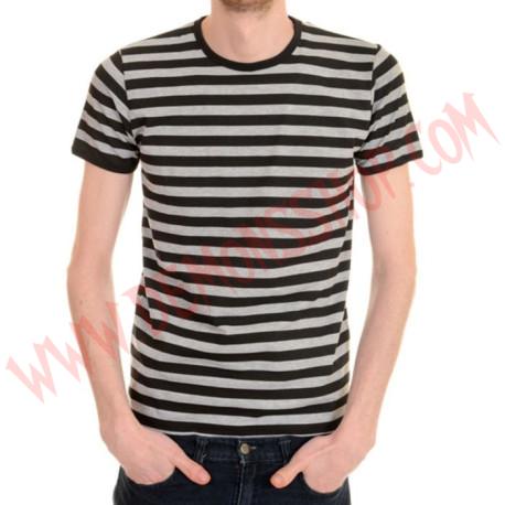 Camiseta MC Rayas Gris y Negras