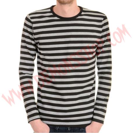 Camiseta ML Rayas Negras y Gris