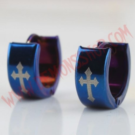 Pendientes Cross Gothic Azul