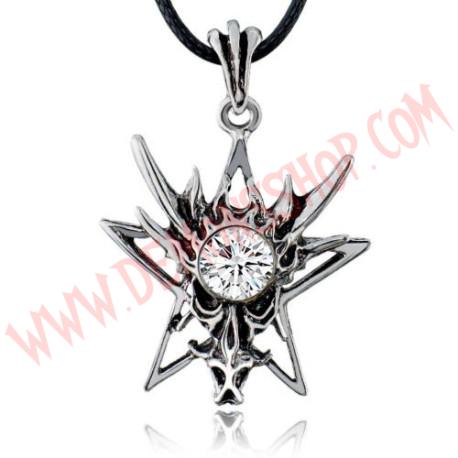 Colgante Dragon Star Rhinestone Blanca