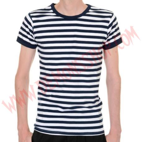 Camiseta MC Rayas Azul marino y Blanco