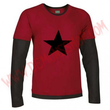 Camiseta ML Estrella Negra (Roja manga negras)