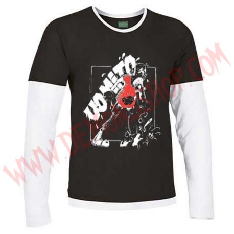 Camiseta ML Vomito (Negra manga Blanca)