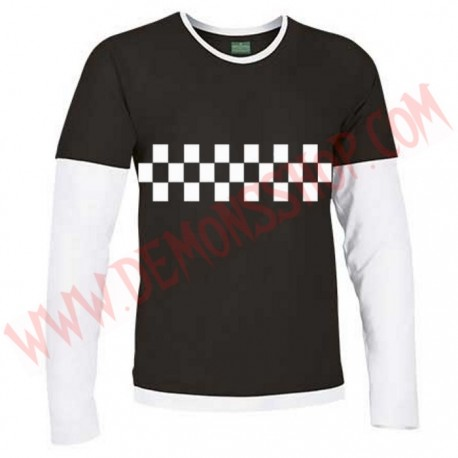 Camiseta ML SKA Damero (Negra manga Blanca)