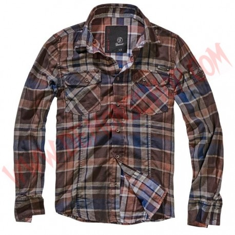 Camisa ML Checkshirt Cotton Crashed Choco Blue