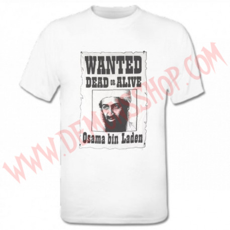 Camiseta MC Wanted Bin Laden (Blanca) OFERTA