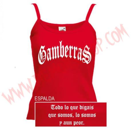 Camiseta Tirantes Chica Gamberras Clasico (Roja)