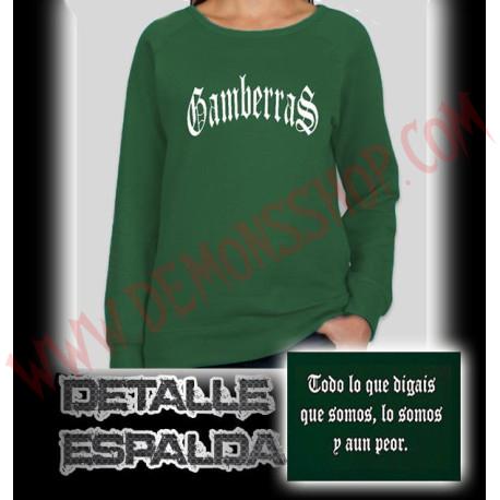 Sudadera Sin Capucha Chica Gamberras Clasica (Verde)