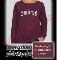 Sudadera Sin Capucha Chica Gamberras Clasica (Granate)